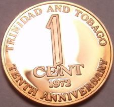 Buy Rare Proof Trinidad & Tobago 1972 Cent~10th Anniversary of Independence~Free Shi