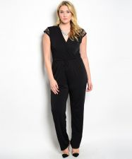 Buy PLUS SIZE 2X Womens Jumpsuit H.B.G.B. Black Wrap Lace Cap Sleeves Straight Legs