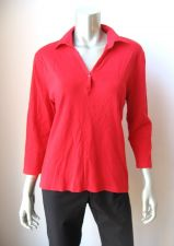 Buy Chaus NEW Red Stretch 1-Snap-Button Henley 3/4 Sleeves Pullover Blouse Top L PR