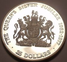 Buy Rare Silver Proof Cayman Islands 1977 $25.00~Queens Silver Jubilee~Awesome~Fr/Sh