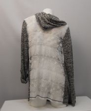 Buy No Boundaries Women's Wrap Cardigan Size XL Black Marl Hooded Ivory Lace Back