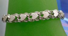 "Buy vintage 7.5"" JB Sterling Heart Link Charm Bracelet Jacoby Bender - Safety Chain"