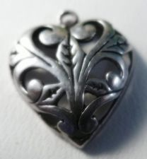 Buy VINTAGE CHARM : ART NOUVEAU SCROLL WORK STERLING HEART signed