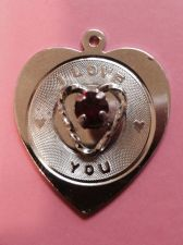 Buy Vintage Sterling Silver Heart Charm by Spencer : I Love You