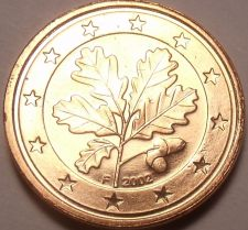 Buy Gem Unc Germany 2002-F 1 Euro Cent~Oak Leaves~Free Shipping