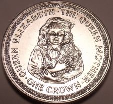 Buy Massive Gem Unc Isle Of Man 1985 Crown~The Queen Mother As a Child~Free Shipping