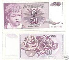 Buy YUGOSLOVIA 50 DINARA HIGH DENOMINATION NOTE<CHILD>FR/SH
