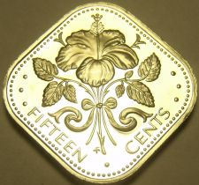 Buy Rare Proof Bahamas 1978 15 Cents~Triangle Coin~Hibiscus~6,931 Minted~Free Ship