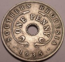 Buy Rare Southern Rhodesia 1935 Penny~Semi Key Date Coin~Excellent~Free Shipping