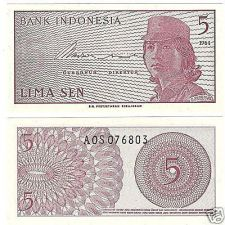 Buy UNC INDONESIA 1964 5 SEN~GREAT PRICE~FREE SHIP INCLUDED