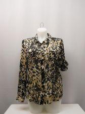 Buy Calvin Klein Women's Shirt Long Sleeves Collar Neck Size XL Animal Print Career