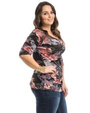 Buy Women's Knit Top Size 1XL-3XL Takoni Floral 3/4 Sleeves Casual 3 Button Y-Neck