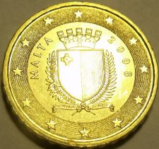 Buy Gem Unc Malta 2008 10 Euro cents~Relief Map Of Europe~Free Shipping