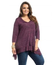 Buy Araza Purple 3/4 Sleeves Scoop Neck Pullover Asymmetrical Knit Top Size 1X-3X