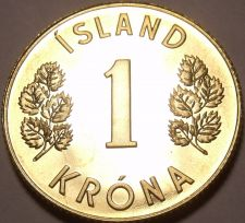 Buy Rare Proof Iceland 1975 Krona~Only 15,000 Minted~Fantastic~Last Year~Free Ship