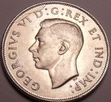 Buy Gem Unc Silver Canada 1943 50 Cents~Mint Error Die Crack~Fantastic~Free Shipping
