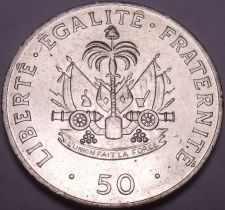 Buy Large Unc Haiti 1991 50 Centimes~Charlemagne Peralte~Double Cannons~Free Ship