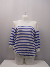 Buy Plus Size 2X Sweater NY Collection Striped Scoop Neck Cuffed 3/4 Sleeves Thin
