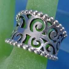 Buy sz 7 Ring: sterling silver Concave and Beaded Edge - Marked NF Sterling