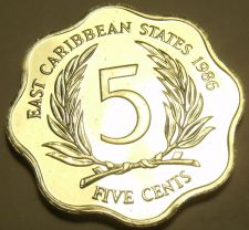 Buy Rare Proof East Caribbean States 1986 5 Cents~Only 2,500 Minted~Free Shipping