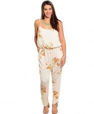 Buy Janette Plus Ivory Floral Spaghetti Straps Jumpsuit Junior Plus Size 1xL-3xL