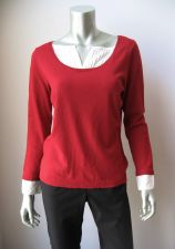 Buy Alfani Petite NEW Red Stretch Rayon Blend Pintuck Long Sleeves Sweater Top PM PR