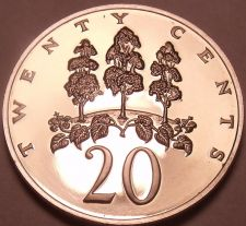 Buy Large Rare Proof Jamaica 1976 20 Cents~Mahoe Trees~24,000 Minted~Free Shipping