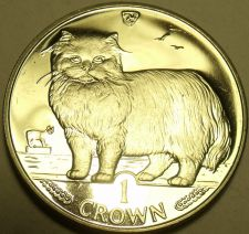 Buy Large Gem Unc Isle Of Man 1989 Crown~Persian Cat~Fantastic~Free Shipping