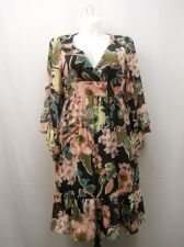 Buy Shelby & Palmer Women's Empire Waist Dress Size 16 Black Floral Kimono Sleeves