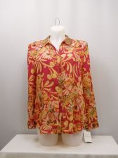 Buy SIZE 14 18 Womens Button Down Shirt JM COLLECTION Floral Long Sleeves Sequin Col