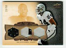 Buy NFL 2008 UD Premier Michael Huff RAIDERS TRIPLE PATCH JERSEY /50 MNT