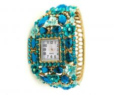 Buy Marysol Jeweled Teal Gold Floral Cuff Women's Bangle Watch