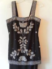 Buy Rose Taft Vintage Evening Dress Matching Overcoat SZ 8-10 Black - Silver Beading