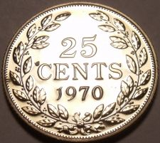 Buy Rare Proof Liberia 1970 25 Cents~Only 3,464 Minted~Free Shipping