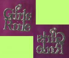 Buy STERLING 925 Silver Charm : GIRLS RULE !!! signed JEZ
