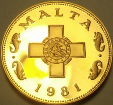 Buy Rare Cameo Proof Malta 1981 Cent~The George Cross~Only 1,453 Minted~Free Ship