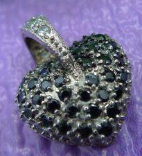 Buy Sterling Silver Heart Pendant w/ Black Or Dark Blue Gemstones