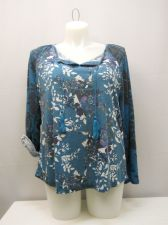 Buy STYLE&CO. Womens Knit Top Size 2XL Teal Floral Long Sleeves Tassel Ties Pullover