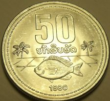 Buy Large Gem Unc Laos 1980 50 Att~Fish With Palm Trees~Awesome~Free Shipping