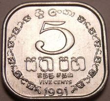 Buy Gem Unc Sri Lanka(Ceylon) 1991 5 Cents~Square Coin With Rounded Edges~Free Ship