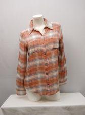 Buy Self Esteem Women's Button Down Shirt Size L Blush Plaid Lace Back Long Sleeves
