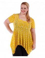 Buy Yummy Yellow Polka Dot Square Neck Handkerchief Hem Blouse Plus Size 4x 5x 6x