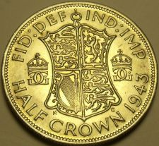 Buy Gem Unc Large Silver Great Britain 1943 Half Crown~Fantastic~Free Shipping