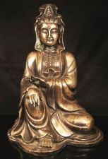 Buy ANTIQUE 19TH CENTURY CHINESE BRONZE SEATED GUANYIN