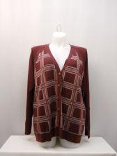 Buy North Crest Women's Boyfriend Cardigan Plus Size 4X Burgundy Plaid Long Sleeves