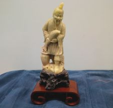Buy A FINE CHINESE CARVED SOAPSTONE FIGURINE OLD MAN WITH FISH