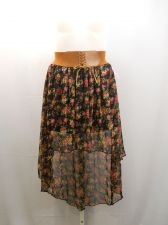 Buy BB Couture Asymmetrical Floral Sheer Overlay Mock Lace-Up Belt Skirt Size XL