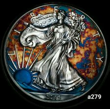 Buy 2015 Rainbow Monster Toned Silver American Eagle Coin 1 ounce uncirculated #a279