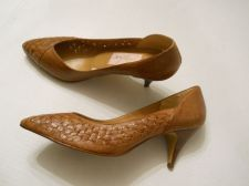 """Buy Jaclyn Smith Women's Pumps Classics Size 10M Leather With Basket Weave 3"""" Heels"""
