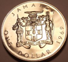 Buy Huge Rare Proof Jamaica 1969 Dollar~1st Year Ever Minted~Prime Minister~Free Shi
